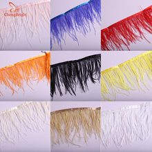 ChengBright  Beatiful 1 Yards White Ostrich Feather Ribbon, Feather Length 8-10cm/ DIY Clothing Accessories Feathers Trim Fringe цена