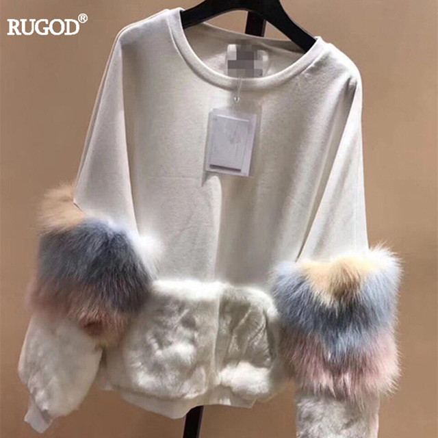 cc1ec533c7 RUGOD New Real Fox Fur Pullover Women Fashion Patchwork Furry Sleeve  Cashmere Sweater Women Tops 2018 Spring Top Quality Jumper