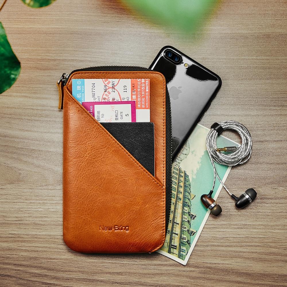 Cartera de cuero genuino NewBring larga cartera monedero portatarjetas Cartera de embrague de gran capacidad teléfono bolsillo cubierta de pasaporte - 2