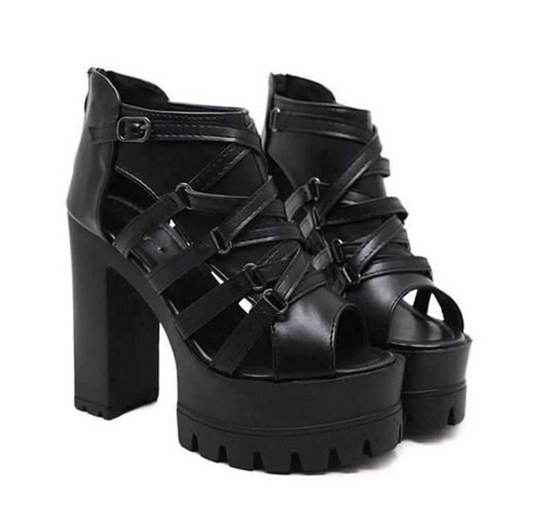 ff4a9297d77 ... High Summer Heels Punk 2018 Chunky Retro Block PXELENA Rock Sandals  Ladies Shoes Women Peep Platform ...