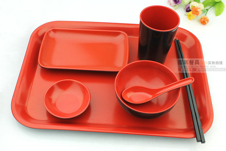 Free Shipping 7pc/lot Melamine Dinnerware Set Fashion Black/Red Japanese Style Plastic Plates Dish Reasturant Spoon Bowl Package-in Dinnerware Sets from ...  sc 1 st  AliExpress.com & Free Shipping 7pc/lot Melamine Dinnerware Set Fashion Black/Red ...