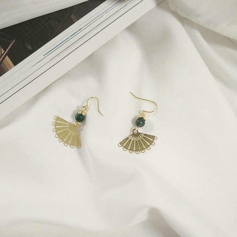 Piercing Lange Ohrringe Für Frauen Ohrringe Mode Schmuck Gold-Farbe Retro Grüne perle Fan Stil Schmuck 2018 KA060 KA062