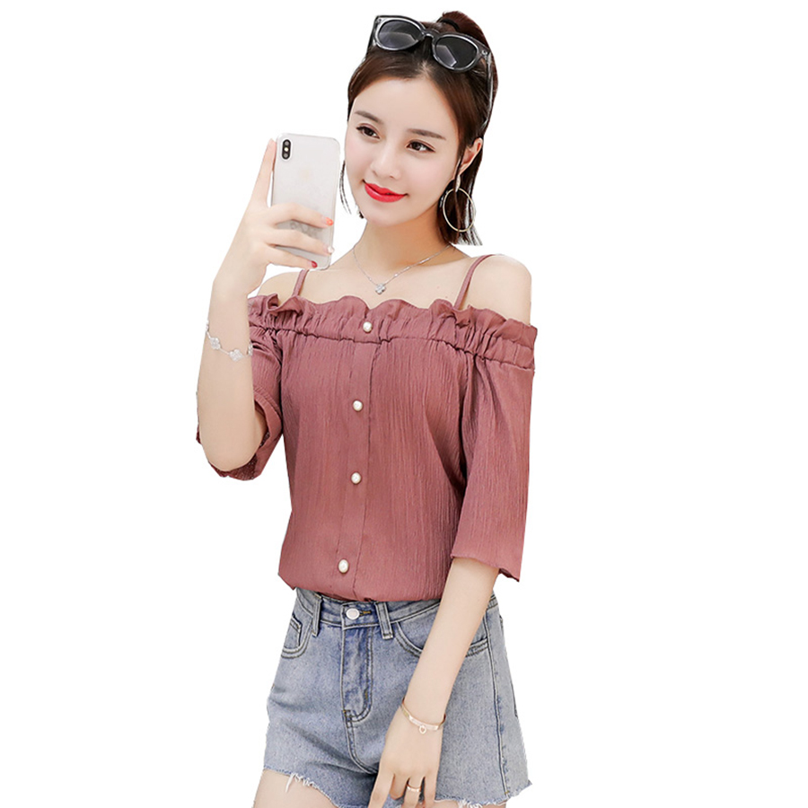 Off Shoulder Pink Blouse womanRuffle Kawaii Tunic Pearl Crop Top Chemise Femme Chiffon Cute Boho Plus Size Clothing 60Q050