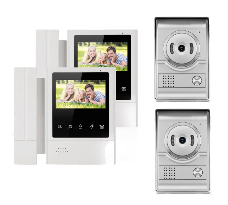XINSILU IntercomDoorbell Home Security Video System Video Door Phone 2X4.3Touch Key LCD Color Monitor+ 2XNight Version Camera