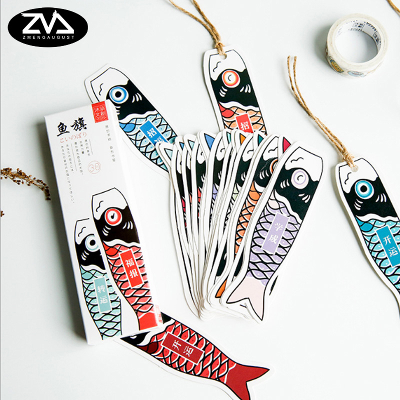 30pcs/box Japanese Fish Flags Gift Bookmarks Marker Stationery Gift Realistic Kawaii Cartoon Bookmarks Office School Supply