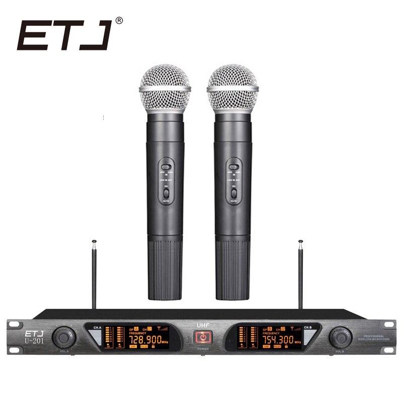 ETJ marque karaoké Microphone sans fil 2 emetteur de poche VHF U-201