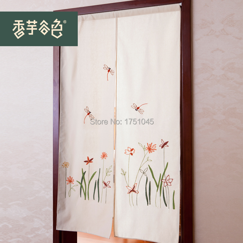 High Quality Ikea Modern Embroidered Door Curtains Flowers