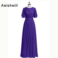 Real Picture Half Sleeve Chiffon Floor Length Elegant Evening Dresses Long Party Dress for Weddings Mother of The Bride Dresses