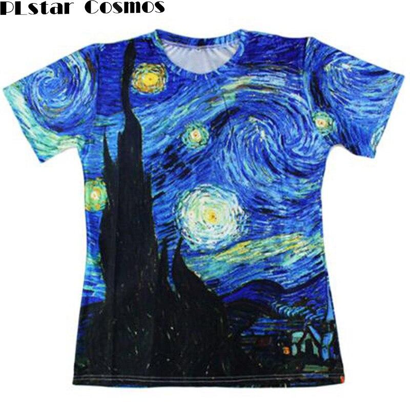 PLstar Cosmos Harajuku t-shirt Men/Women Vincent van Gogh oil painting Starry Night Print 3d t shirt Unisex Casual short-sleeved
