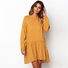 Women Yellow Striped Long Sleeve Dress Autumn Female Loose Pleated Mini Dress Plus Size Patchwork Asymmetrical Dress Dropship 40(China)
