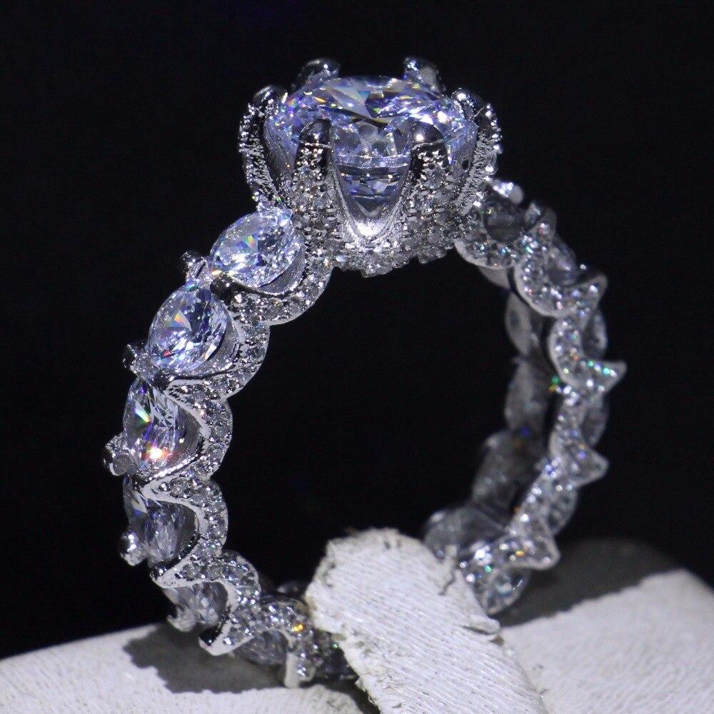 Nouveauté bijoux de luxe Dragon griffe 925 en argent Sterling coupe ronde AAAAA blanc zircone fête bague de fiançailles pour les femmes