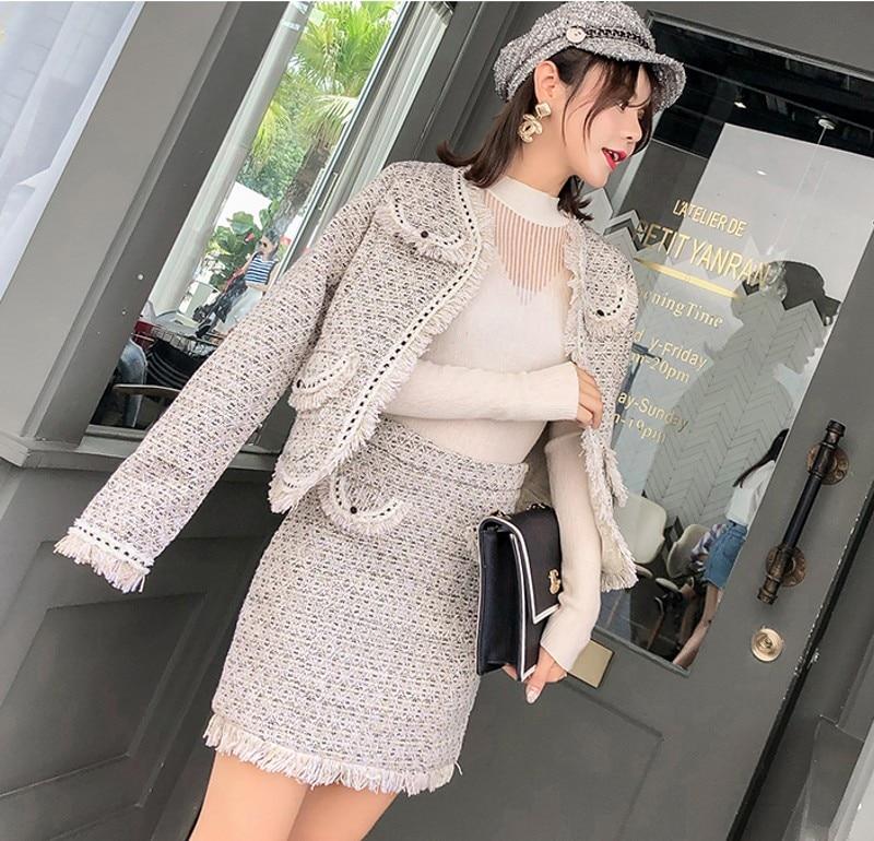 Veste Blanc Automne Costume Crayon Femmes 2018 Luxe Manteau Hiver Tweed Gland Haute As Picture Set De Pièce 2 Laine Taille wB0q05C7