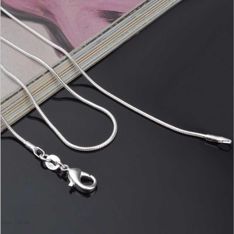 925 стерлингового серебра Цепочки и ожерелья для женщин, серебро, ювелирное изделие, змея цепи 1 мм Цепочки и ожерелья, 16, 18, 20, 22, 24 дюйма