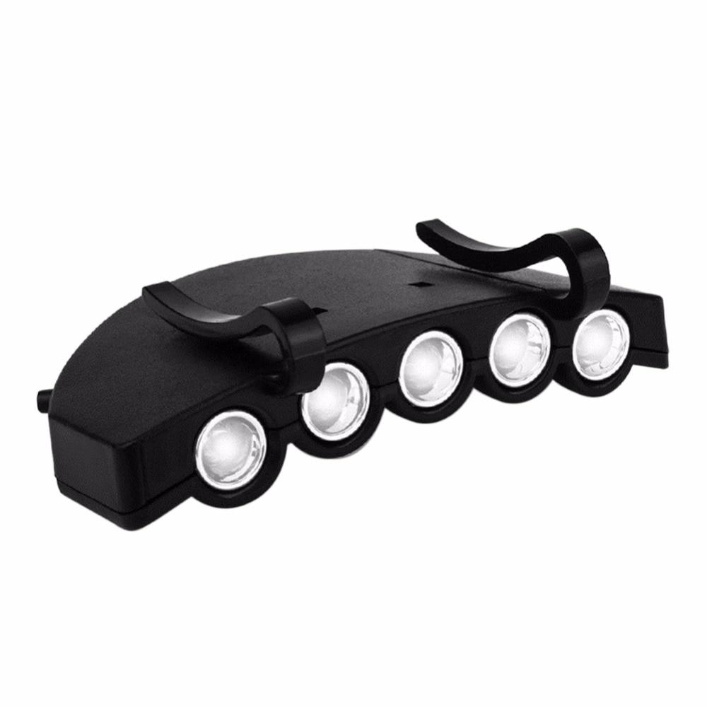 5LED Super Bright Cap Light Headlight HeadLamp Head Flashlight Head Cap Hat Light Clip On Light Fishing Head Lamp