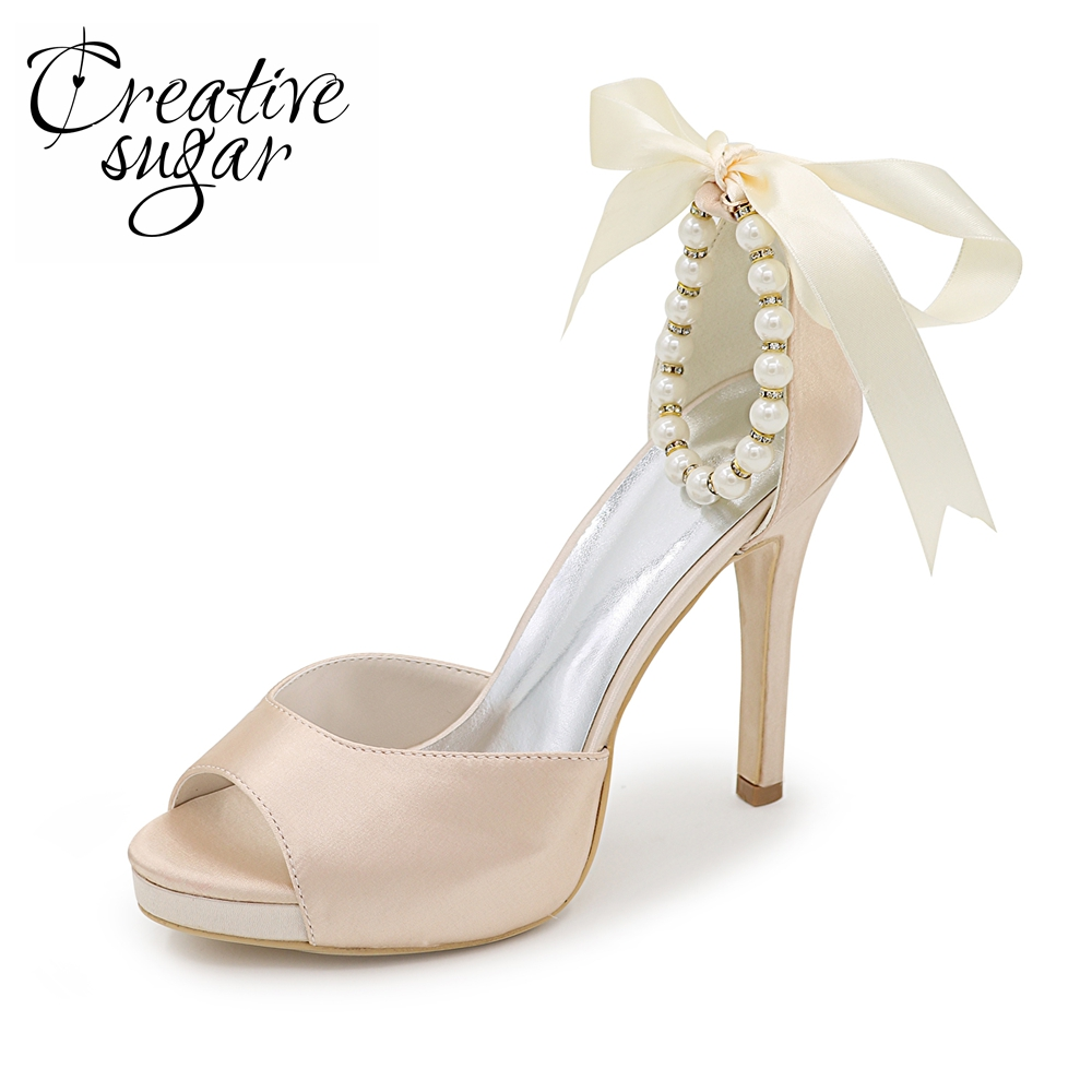 Creativesugar Pearl beads ankle strap ribbon bow open toe separate pumps lady satin evening dress shoes bridal wedding party стоимость