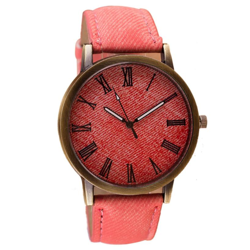 Best Sale 2018 Fashion Popular Womens Watches The Roman rounded digital dial Creative personality watch strap of a denim fabric