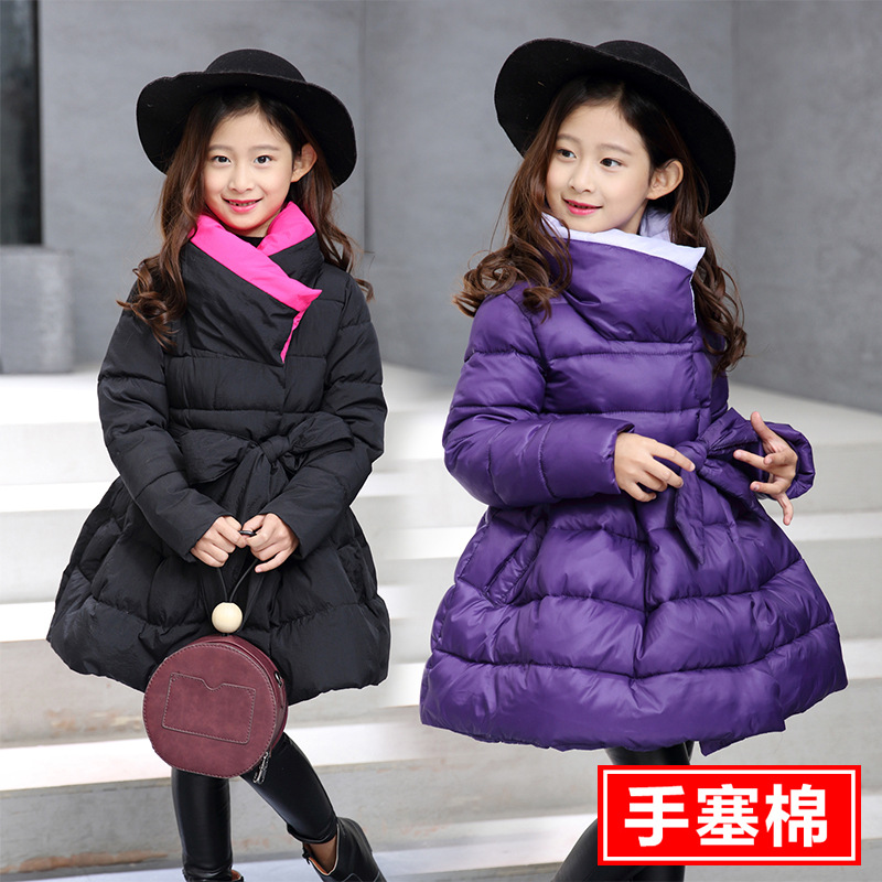 Child 2017 New Girls In Korean Winter Coat Thick Hand Plug of Cotton Padded Child Bow Girls CoatChild 2017 New Girls In Korean Winter Coat Thick Hand Plug of Cotton Padded Child Bow Girls Coat