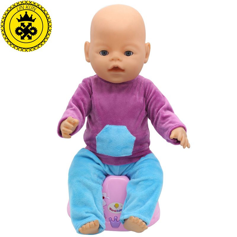 43cm Baby Born Zapf Doll Clothes Purple Shirt Blue Trousers Set Princess Dress Zapf Doll Accessories