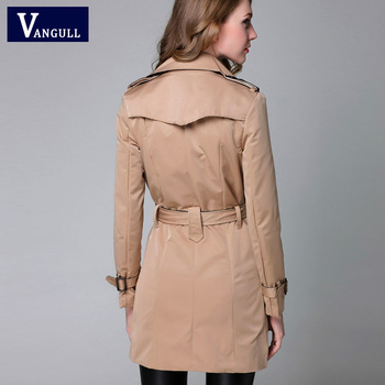 VANGULL 2016 New Fashion Designer Brand Classic European Trench Coat khaki Black Double Breasted Women Pea Coat real photos 10