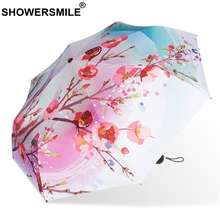 SHOWERSMILE Uv Protection Parasol Sliver Coating Painting Umbrella Art Flower Print Peach Blossoms Three Folding Brolly