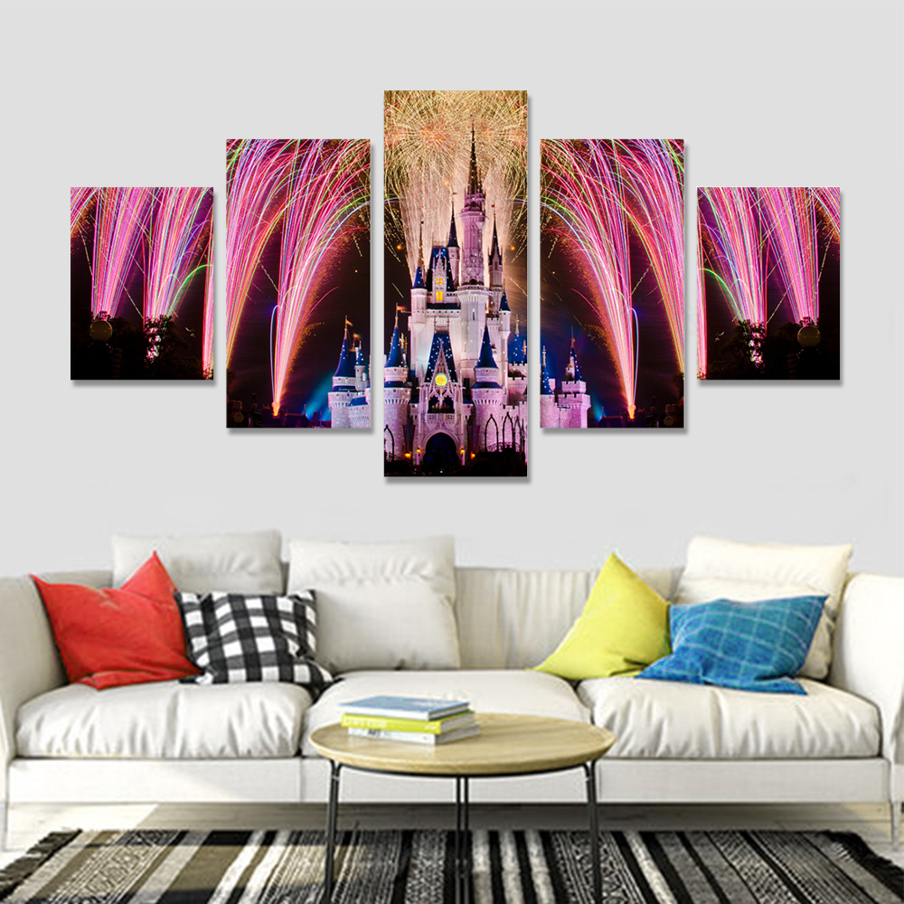 Unframed 5 HD Canvas Prints Castle Fireworks Poster For Living Room Decoration Mural Module Art Spray Painting Dropshipping