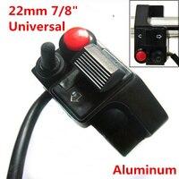 """7/8 """"22mm en aluminium étanche moto guidon interrupteur corne faisceau Winker montage bouton poussoir pour vtt Scooters motoneiges"""
