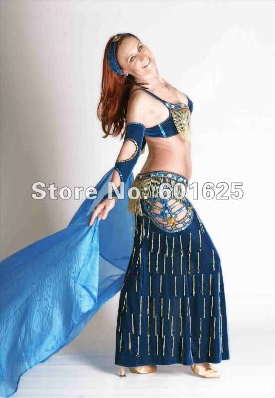 Free Shipping Mede To Measure New Belly Dance Costume Set BRA(38D)+skirt+glove+necklace+hand Band 5piece/ Set ,accept Any Size