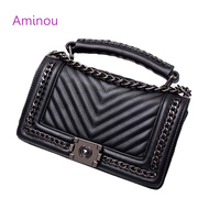 Aminou 2017 Brand Designer Women Small Messenger Bags For Teenager Girls Chain V Striped Shoulder Bag