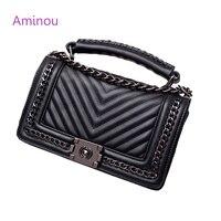 Aminou 2017 Brand Designer Women Small Messenger Bags For Teenager Girls Chain V Striped Shoulder Bag