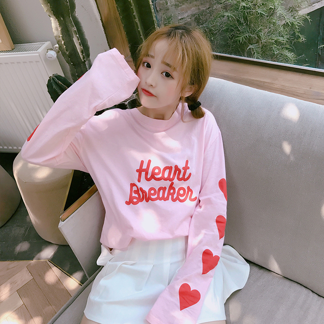 f7304159b Aliexpress.com   Buy Love Printing Caring Girl Pink College Shirt ...