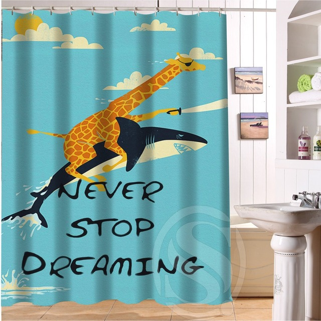 Cuatom Best Gift Giraffe Riding Shark Never Stop Dreaming Shower Curtain 60x72 Inch Hooks Free Shipping