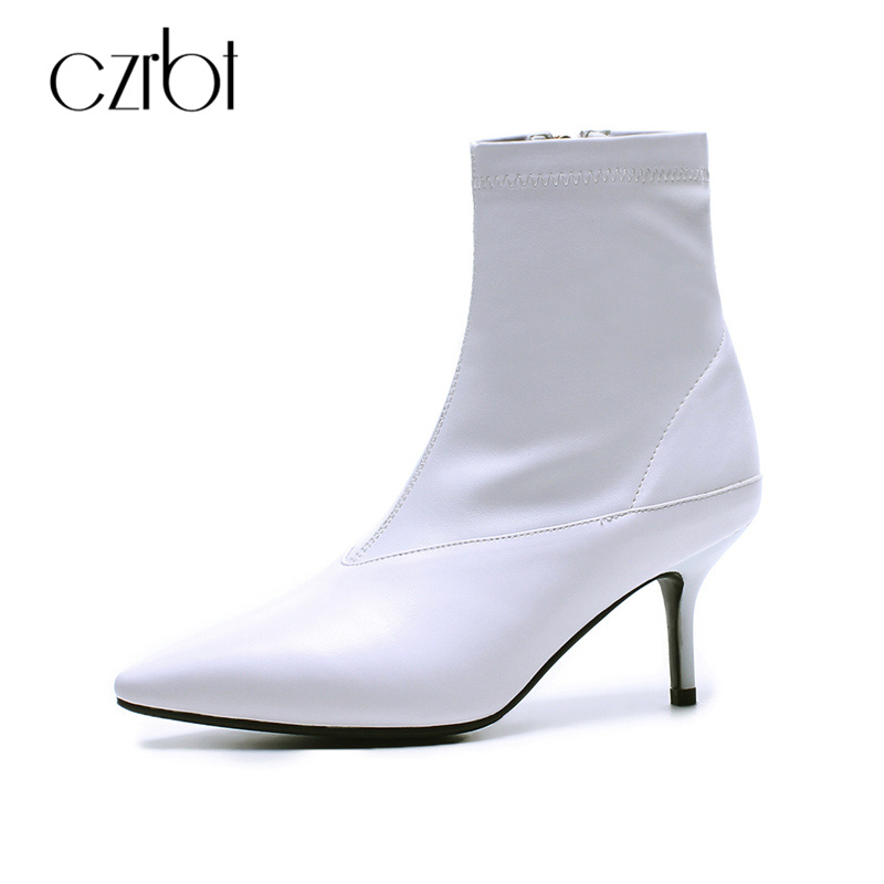 CZRBT Concise Style Elegant High Heels 8cm 2018 Spring Boots Women Top Quality Handmade Thin Heel and Genuine Leather Ankle Boot