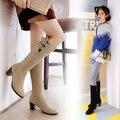 16 nova moda Faux Suede Estiramento Magros mulheres botas inverno quente Hoof saltos med sapatos mulher Joelho Alto botas de zíper sólida tamanho 43