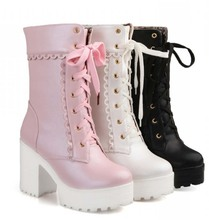 Лолита розовый белый зашнуровать высокий каблук студент обувь милая леди косплей платформы коренастый блок среднего теленок короткие сапоги 43