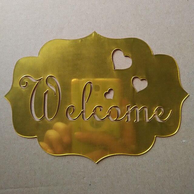 Gold/Silver Modern 3D Mirror Welcome Sign Acrylic Wall Sticker DIY ...
