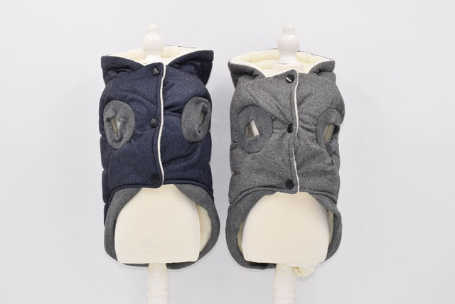 Two Feet Winter Dog Clothes Blue Grey Color S-xxl Size For Choice Super Warm And Soft Cotton Padded Dog Winter Pet Dog Jacket  1