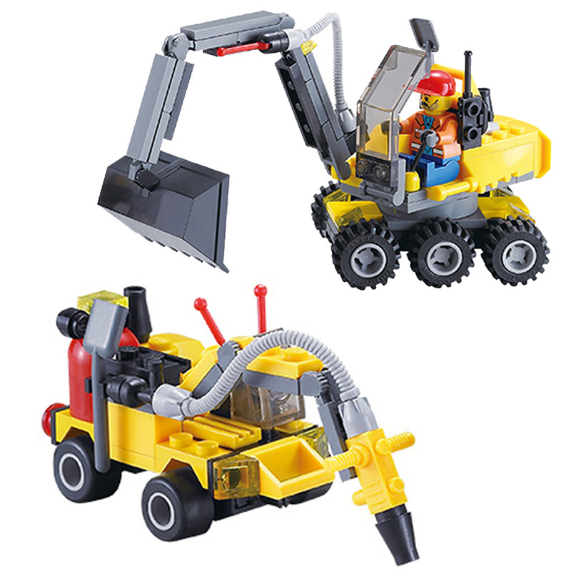 196pcs Original DIY City Construction Excavator Building Blocks Small Particles Assemble Toy Brinquedos Educational Bricks Gift kaygoo 109 challenger 3 in 1 robots building block 229pcs abs small particles toy challenger assemble toy boy gift big size