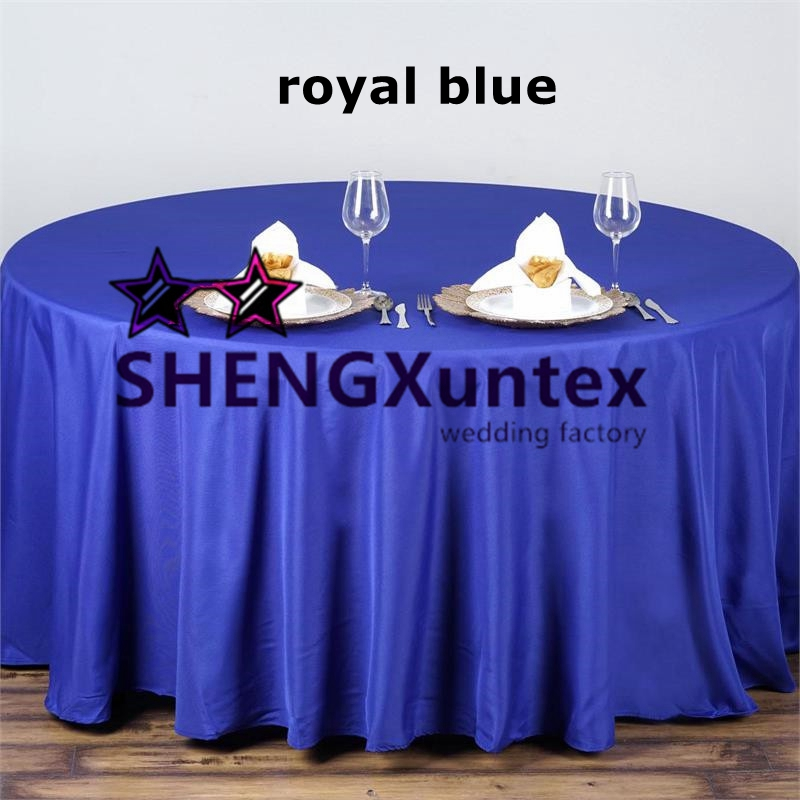 Good Looking Royal Blue Color Poly Table Cloth \ Round Tablecloth Wedding  Decoration