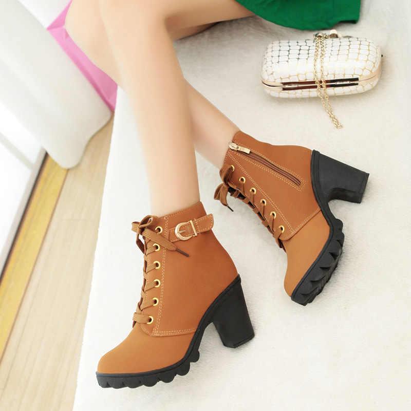 Artı Boyutu yarım çizmeler Kadın Platformu Yüksek Topuklu Toka Ayakkabı Kalın Topuk Kısa Çizme Bayanlar Rahat Ayakkabı Drop Shipping
