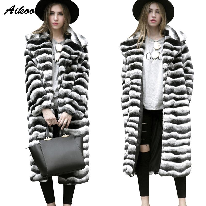 Aikooki Woman Faux Fur Overcoat Fashion Zebra-Stripe Woman European Winter Long Faux Fur Warm Ladies Parkas Out Coats woman 2016fw woman fashion patch bomber jacket with faux fur collar warm qulited lining side pockets