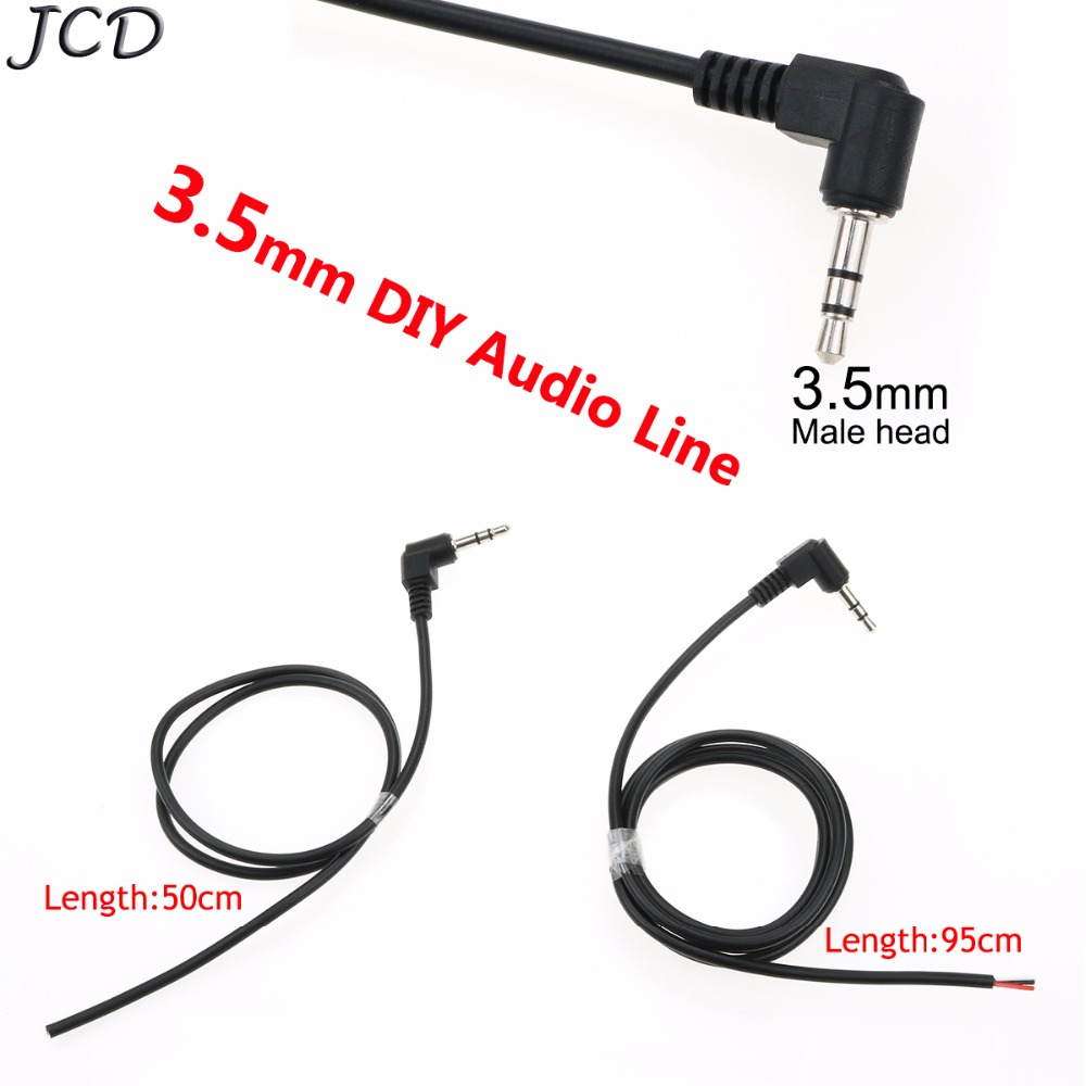 JCD Black 3.5mm Right Angle DIY Headphone Audio Cable Line 3 Pole Jack Strand Earphone Maintenance Repair Wire Cord 3.5 Male