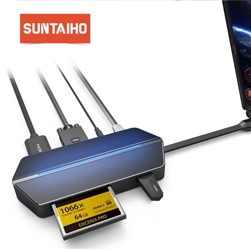 Suntaiho Тип C 3,1 USB C адаптер для концентратора 8 в 1 для samsung s9 Тип C USB 3,0 VGA HDMI 3,5 мм Jack CF SD карты памяти слот для Macbook