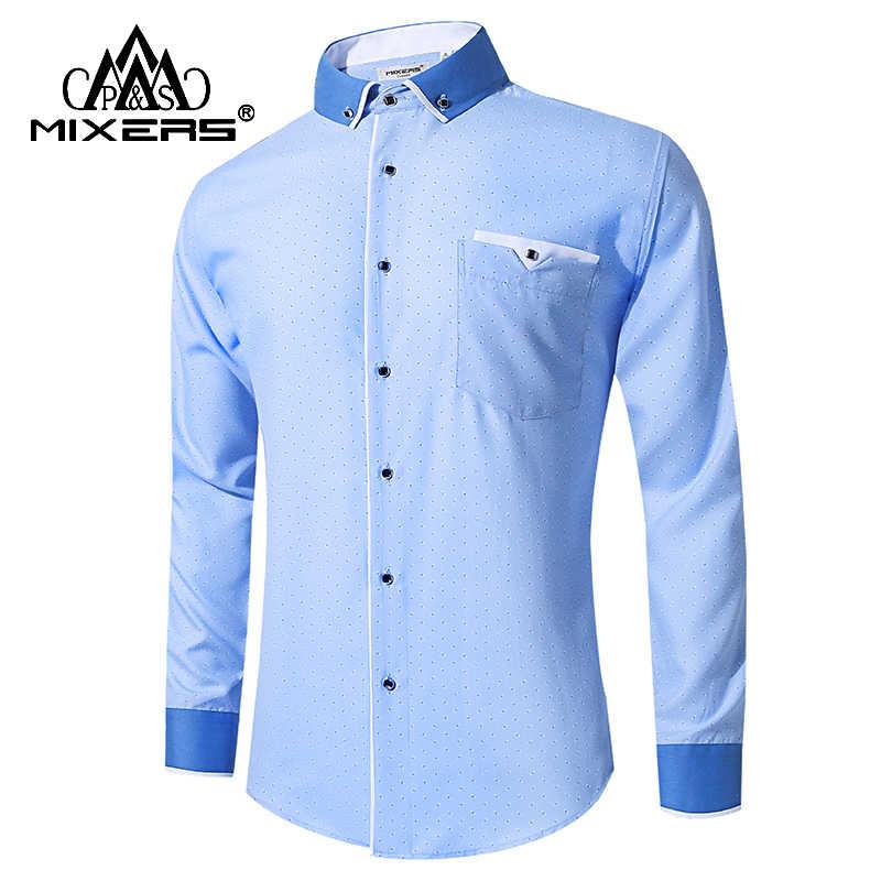 Бренд 2018 Новая синяя рубашка мужская с длинным рукавом синяя Повседневная  сорочка мужская уютные рубашки мужские 3e0ef90d207
