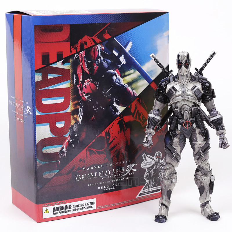 PLAY ARTS KAI Deadpool Grey Edition PVC Action Figure Collectible Model Toy 25cm playarts kai star wars stormtrooper pvc action figure collectible model toy