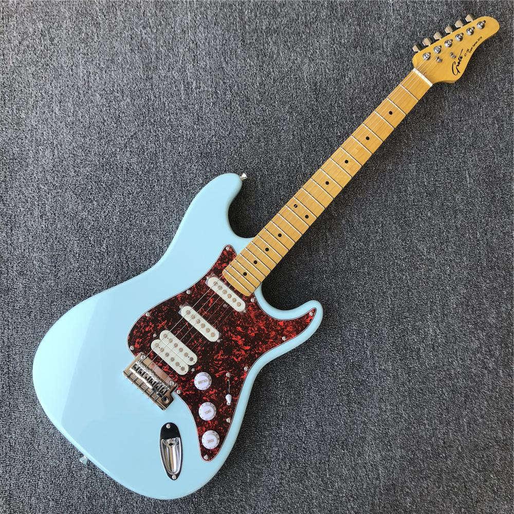 grote blue st electric guitar factory custom maple neck solid mahogany body 6 strings electric. Black Bedroom Furniture Sets. Home Design Ideas