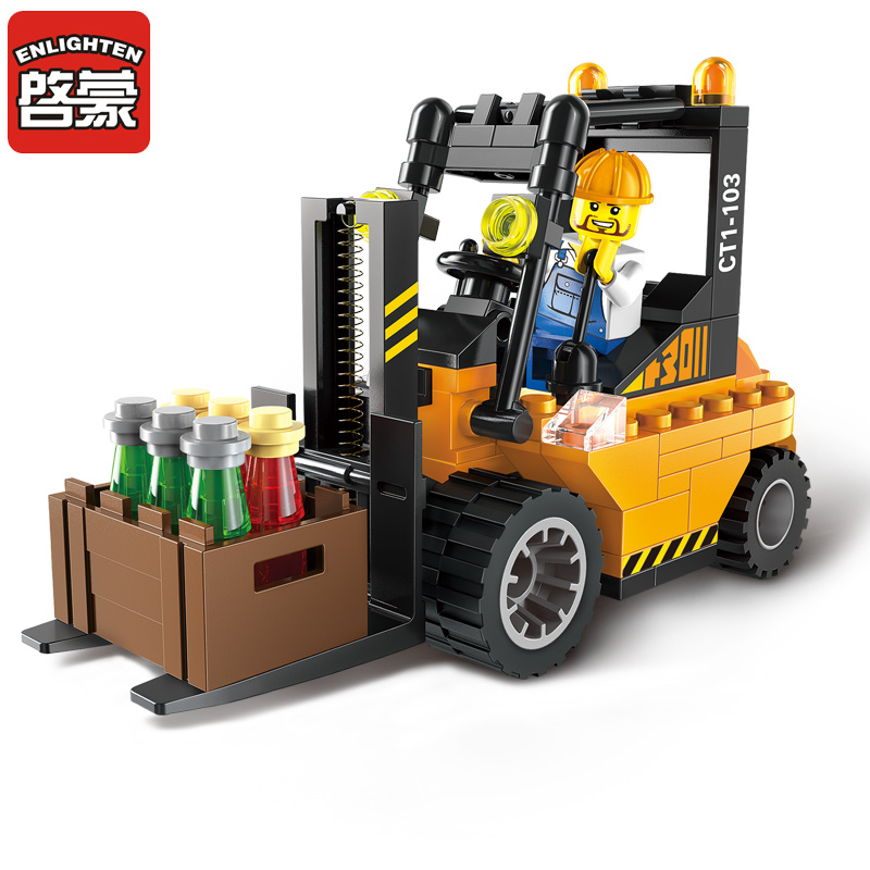 Enlighten Building Blocks City Forklift Truck Building Blocks Boys&Girls Blocks City Construction Model Bricks Toys For Chlidren enlighten building blocks navy frigate ship assembling building blocks military series blocks girls