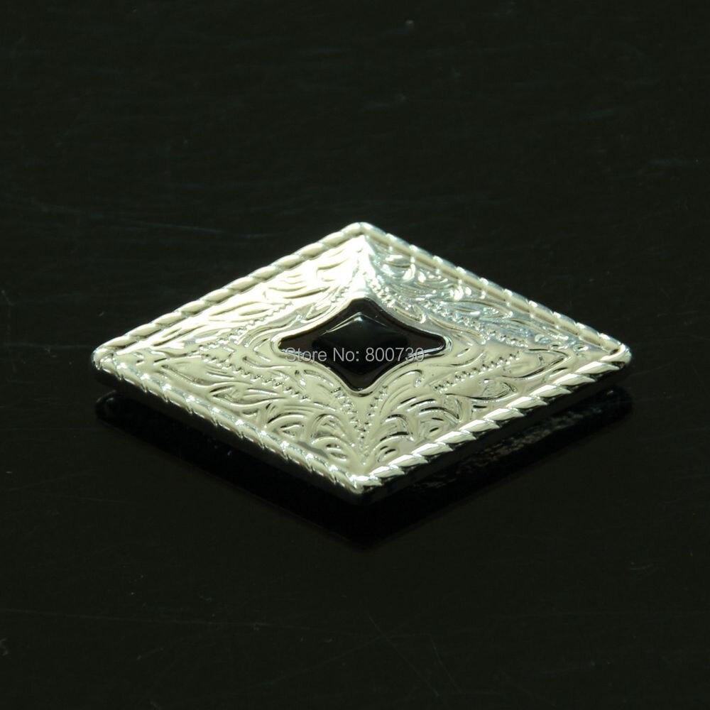 (KB303) 10pc Prairie Dust Diamond Concho w / Leathercraft iz črnega - Umetnost, obrt in šivanje