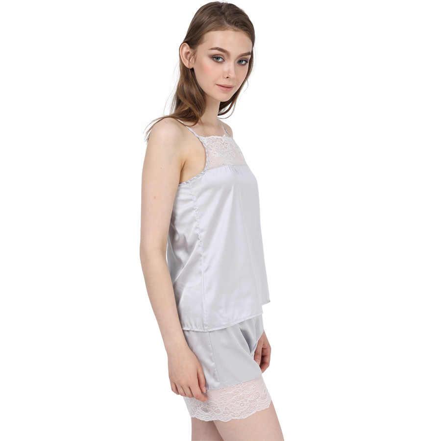 0fcf10532 ... Satin Pajamas Set Lace Nightgowns Comfy Sleepwear Pretty Nighties  Artificial Silk Camisole Short Sets ...
