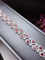 Роскошный ряд двумя слоями натурального красный рубиновый браслет из натурального драгоценного камня S925 серебряные женские свадебные под