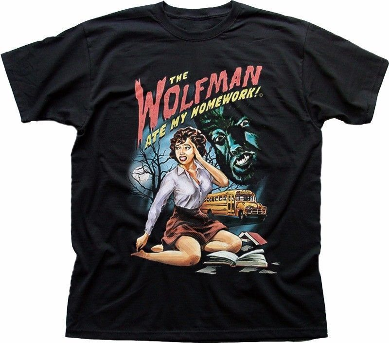 The Wolfman ate my homework Werewolf funny B movie black cotton t-shirt 9328 Men Print Cotton O Neck Shirts top tee ...